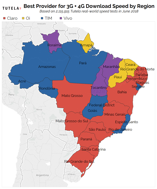 Brazil 3G + 4G Download Rank Map June