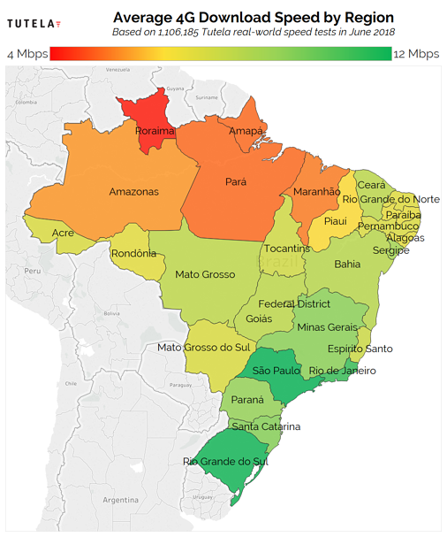 Brazil 4G Download Speed Map June