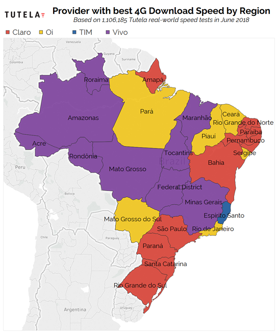 Brazil Download Rank Map June